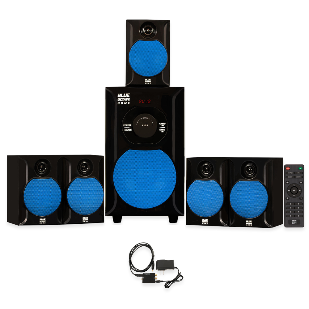 Blue Octave B51 Home Theater 5.1 Powered Speaker System with USB and Optical