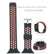 Embedded two colors Silicone Replacement i Watch Bands for Apple Watch Series 4/3/2/1-Black/Red