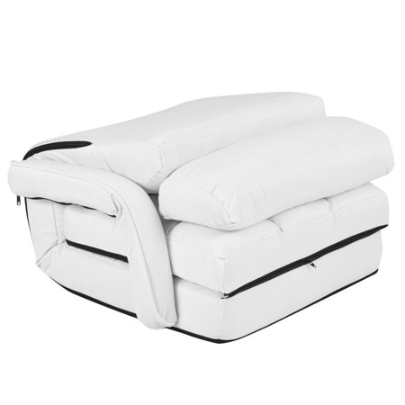 Costway Folding Lazy Sofa Lounger Bed Floor Chair Sofa w/ Armrests Pillow White - image 6 of 9