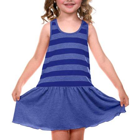 Kavio! Little Girls 3-6X Striped Jersey Scoop Neck Racer Back Tank Dress Striped Heather/Cobalt Blue 3