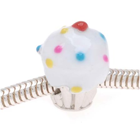 Silver Tone Cupcake Bead With White Enamel Frosting And Sprinkles - European Style Large Hole - Silver Sprinkles