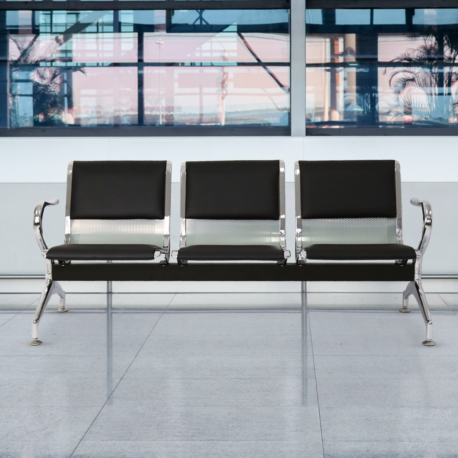 Kinbor 3-Seat Leather Airport Reception Waiting Chair Room Salon Barber Bench
