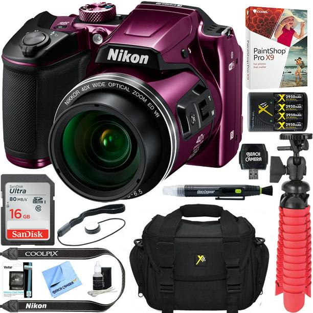 Nikon COOLPIX B500 16MP 40x Optical Zoom Digital Camera w/ Wi-Fi - Plum (Renewed) + 16GB SDHC Accessory Bundle