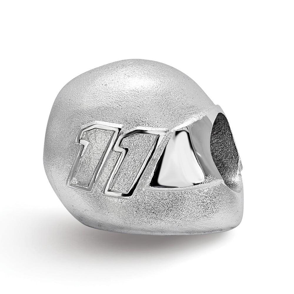 Denny Hamlin #11 Car Number Bead On Helmet In Sterling Silver