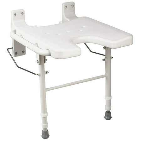HealthSmart Wall Mount Fold Away Bath Chair Shower Seat Bench with Adjustable Legs, Seat 16 x 16 Inches, White Folding Shower Seat