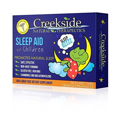 Creekside Natural Therapeutics Childrens Sleep Aid 30 Fruit Flavored  Ez Melts  Fast Melting  Tablets  Pediatrician Recommended  All Natural  Guaranteed Results