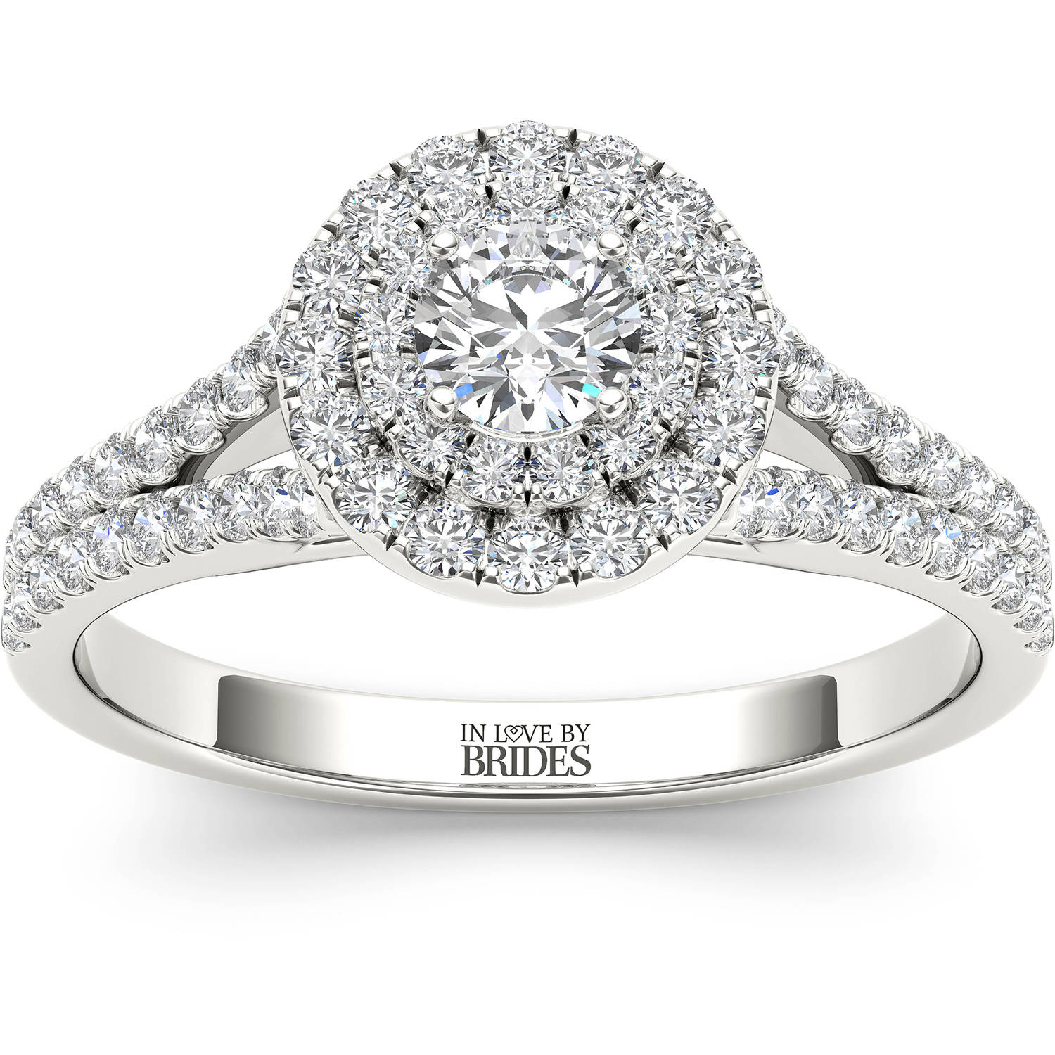 IN LOVE BY BRIDES 3/4 Carat T.W. Certified Diamond Round Spilt Shank Double Halo 14kt White Gold Engagement Ring