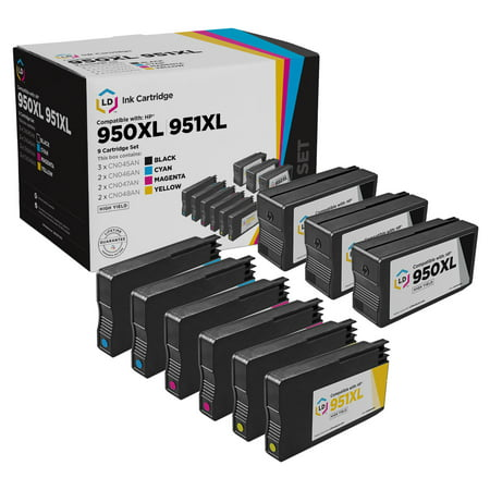 LD Remanufactured Replacement for HP 950XL & HP 951XL High Yield Ink Cartridges: 3 Black, 2 Cyan, 2 Magenta, 2 Yellow for OfficeJet 8600 & OfficeJet Pro 251dw, 8100, 8600, 8615, 8616, 8620, 8625,