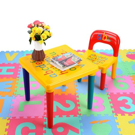 Children ABC Letter Table Chair Set, Kids Plastic Alphabet Table and Chair Play Set Activity Furniture Indoor Outdoor, For Kids Toddlers Childs Gift ()
