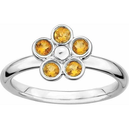 Sterling Silver Citrine Flower Ring