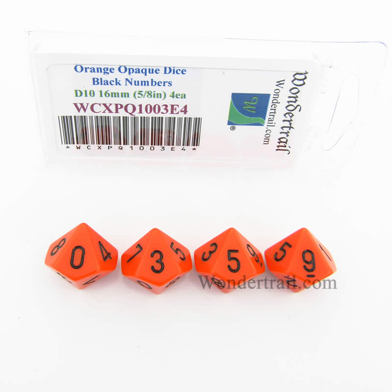 Orange Opaque Dice with Black Numbers D10 Aprox 16mm (5/8in) Pack of 4 Wondertrail