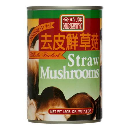 (6 Pack) Hunsty Straw Mushroom Medium Peeled, 15 Oz (California Mushrooms)