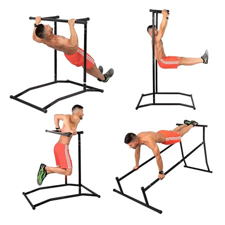 BestEquip Pull Up Dip Station Gym Bar Power Tower Steel 220lbs