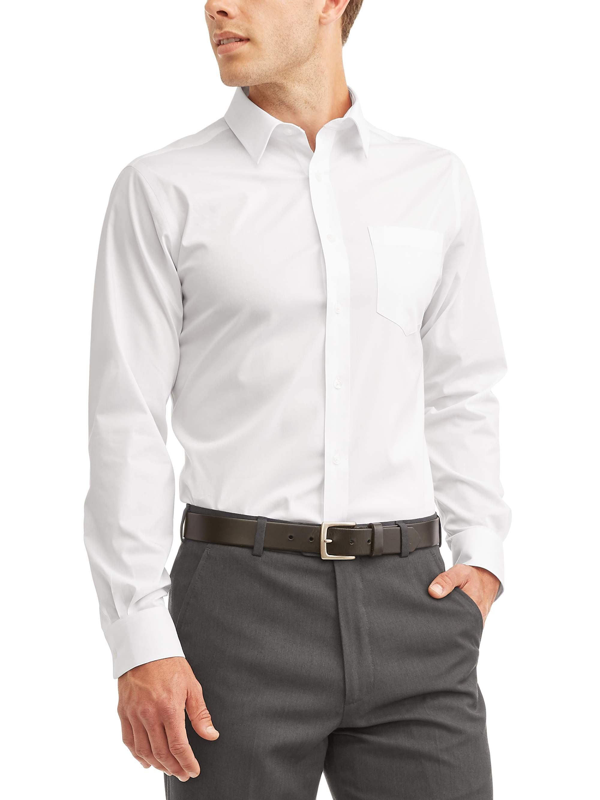 GEORGE - George Men's Long Sleeve Performance Dress Shirt, Up to 3XL - Walmart.com