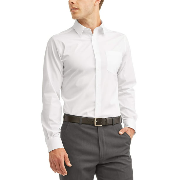 GEORGE - George Men's Long Sleeve Performance Dress Shirt, Up to