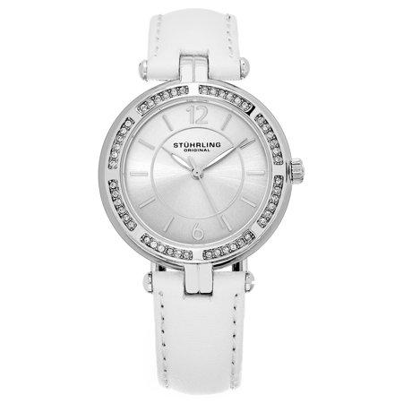 Swarovski White Leather - Stuhrling Original  Women's Quartz Serena Swarovski Element Crystal White Leather Strap Watch