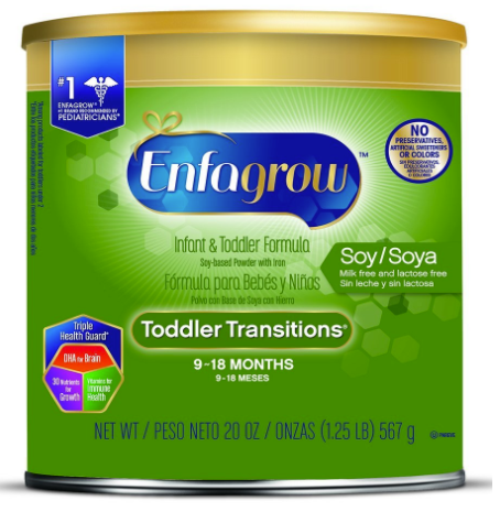 Enfagrow Toddler Transitions Soy Formula, 20 oz Cans, 4 Count