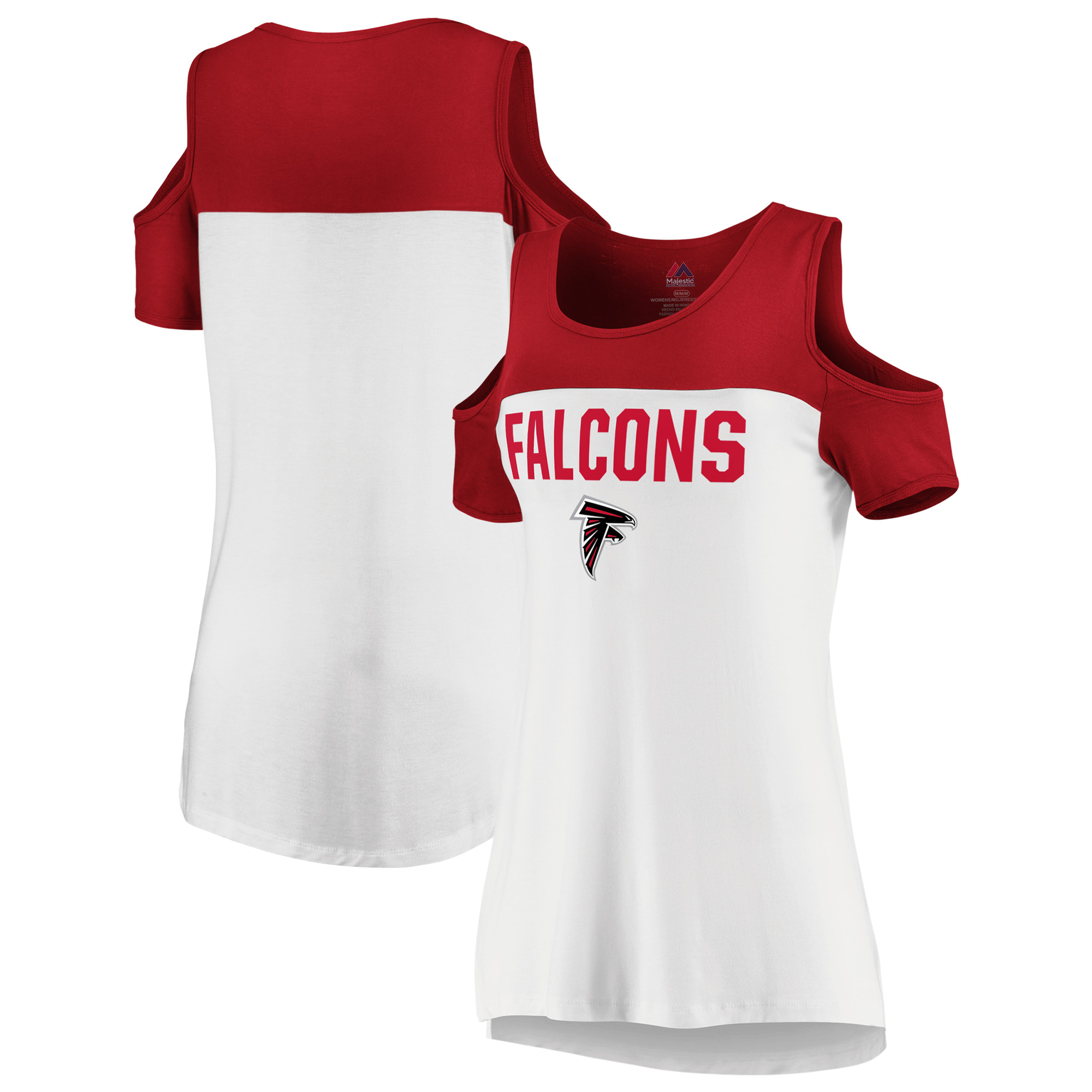 Atlanta Falcons Majestic Women's Pure Dedication Open Shoulder T-Shirt - White/Red