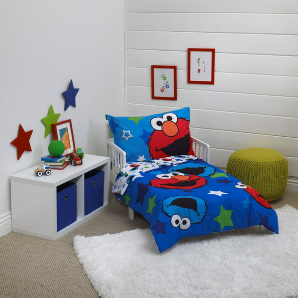 Sesame Street 4 Piece Awesome Buds, Elmo Bedding Queen Size