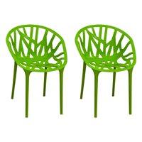 Branch Modern Dining Side Chair-Set of 2 (Green)