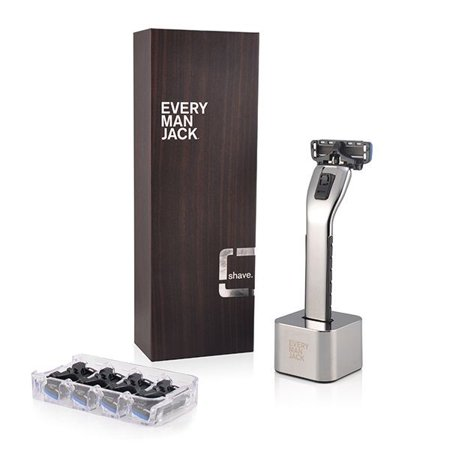 Every Man Jack Chrome Razor Handle, Stand, And 4 Refill Cartridges Chrome Trim Door Handles Razor