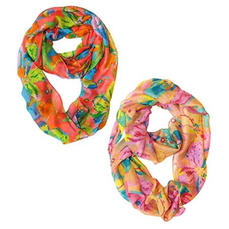 Peach Couture Paint The Town Red Cherry Blossom Floral Print Infinity loop Scarves ()