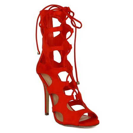 Breckelles BK04 Women Suede Peep Toe Cut Out Lace Up Stiletto Sandal Heel