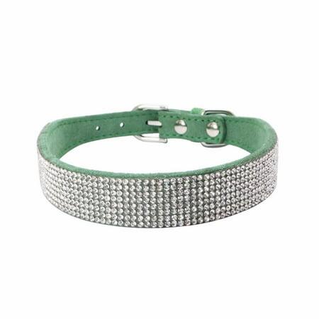 Iuhan Bling Dog Collar Sparkly Rhinestone Studded Small Medium Dog Adjustable Collar 10mm Rhinestone Charms Dog Collars