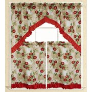 "Elegance Linen® Embroidered 3-Piece Kitchen Curtain Window Treatment Set - 2-Tiers : 30"" x 36"" and 1 Swag: 60"" x 36""  - Apple Vine Design"