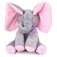 Ear Flappy Singing Baby Elephant Play Peek a Boo Animated Plush Toy (12 inch)