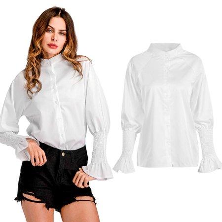 c077999c0f Zerone - Women Casual Style Plain Shirt Stand Collar Long Ruffle Sleeve  Blouse Shirt