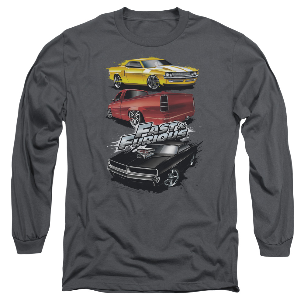 The Fast and the Furious Muscle Car Splatter Mens Long Sleeve Shirt