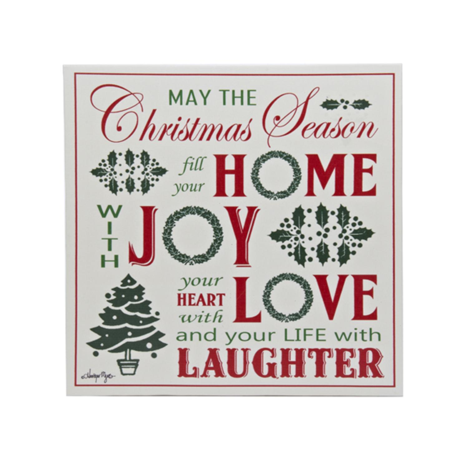 Pack of 4 White, Red and Green Christmas Wall Decor Plaques with Sayings 12""