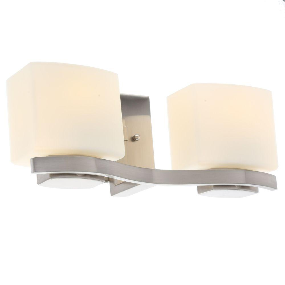 Hampton Bay 2-Light Brushed Nickel Bath Light (Store Return) by Hampton Bay
