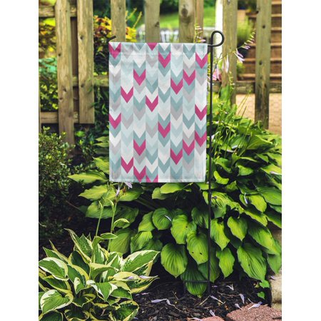 NUDECOR Chevron Zigzag Arrows Geometric in Mixed Order Colorful White Pink Garden Flag Decorative Flag House Banner 12x18 inch - image 2 of 2