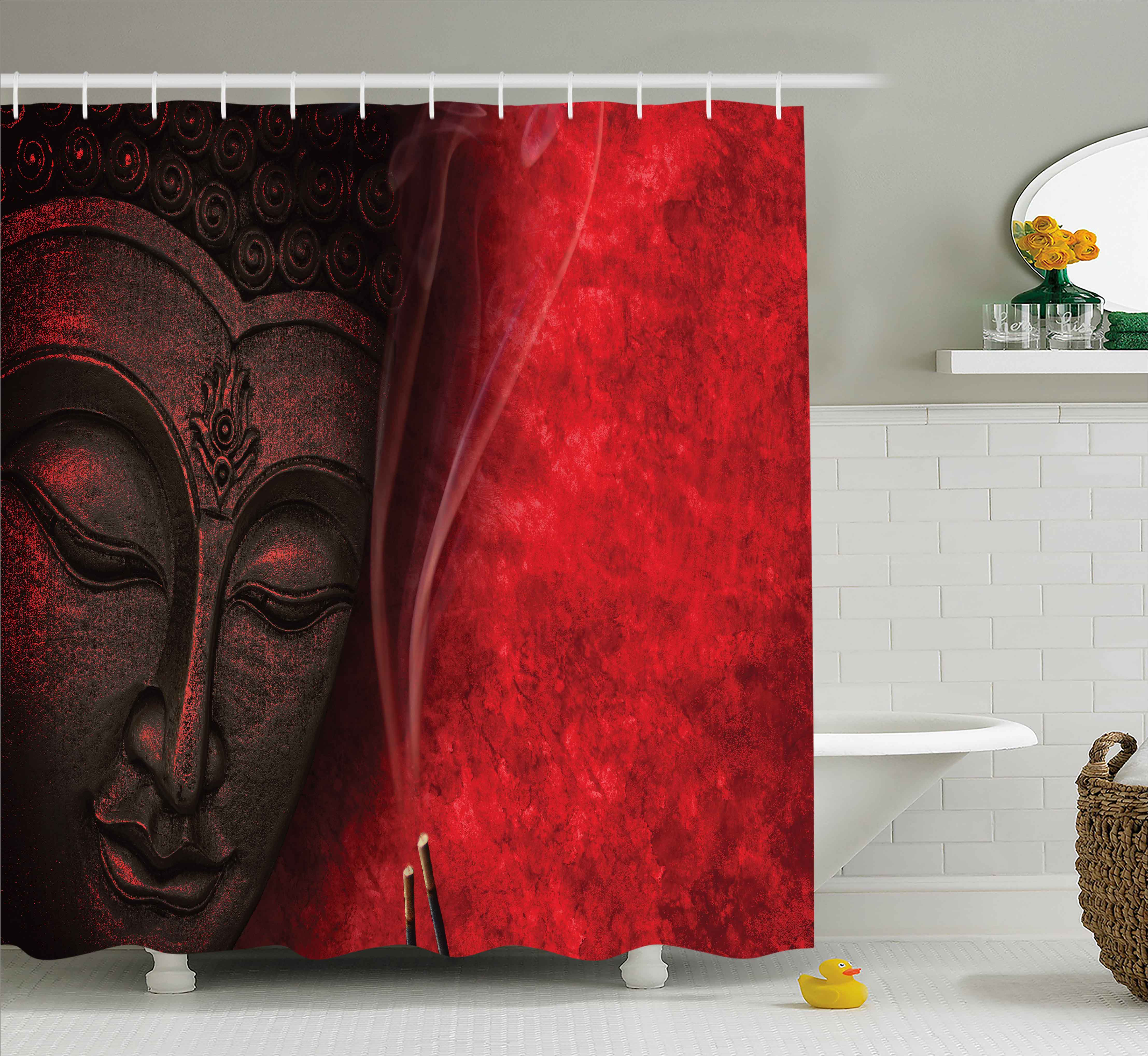 Asian Shower Curtain, Eastern Spirituality Deity Icon Statue over Hazy Religious Zen Yoga Calmness IMage Print, Fabric... by Kozmos