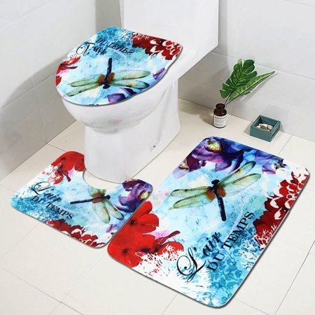 3Pcs Bathroom Bath Mat Set Ink Painting Cover + Floor Pedestal Rug + Non-slip Pad Mat Carpet for Home Bedroom Decor Gift ()