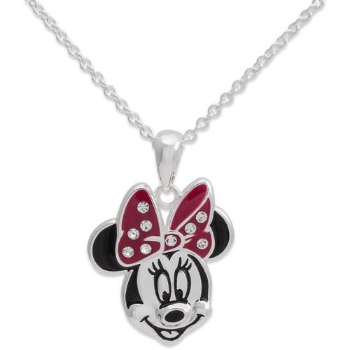 "Disney Silver-Tone Minnie Mouse Head Pendant, 18"""