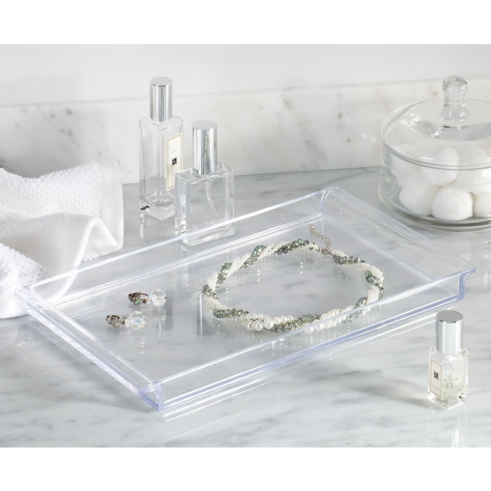 Clarity Cosmetic Organizer Tray for Vanity Cabinet to Hold Makeup, Beauty Products - Clear