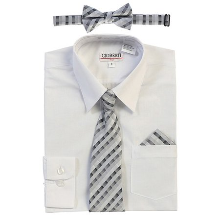 Gioberti Big Boys White Tie Bow Tie Handkerchief Dress Shirt 4 Pc Set - White Dress Shirt Boys