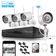 Funlux 2-Minute-Setup Smart Wireless Security Camera System, 500GB Hard Drive