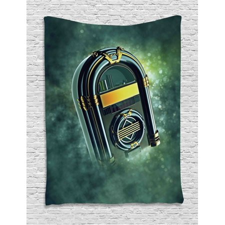 - Jukebox Tapestry, Abstract Grunge Antique Radio Music Box on Blurry Backdrop Print, Wall Hanging for Bedroom Living Room Dorm Decor, 40W X 60L Inches, Forest Green Yellow and White, by Ambesonne