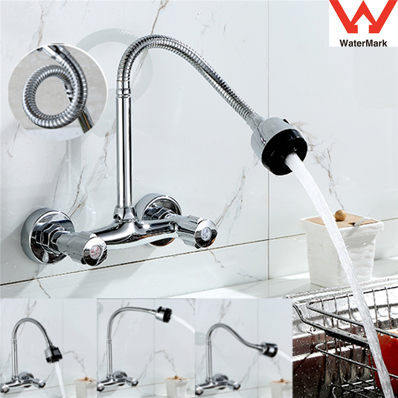 Wall Mount Chrome Brass Pull Down Kitchen Sink Spray Faucet Vessel Swivel Spout