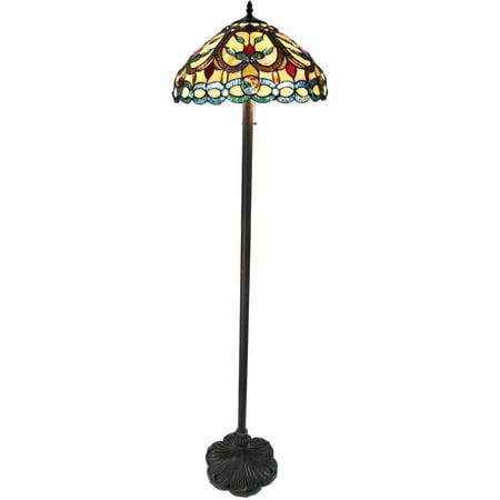 Chloe Lighting Hayden Tiffany-Style 2-Light Crystal Design Floor Lamp with 18