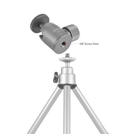 Andoer D-4 Mini Tripod Ball Head Aluminium Alloy Tripod Mount Ballhead with 1/4inch Srew 3/8inch Screw Hole 360° Rotating Panorama for Smartphones Cameras DSLR Max. Load 5kg - image 1 de 7