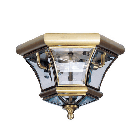 10.5 Inch Semi Flush - Semi Flush Mounts 2 Light With Clear Beveled Glass Antique Brass size 10.5 in 120 Watts - World of Crystal