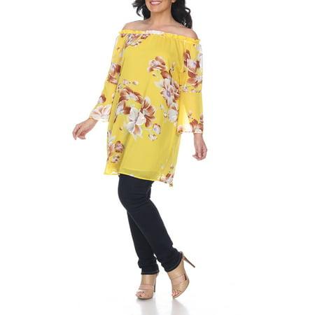 1da57a345adc3 White Mark - Women s Plus Size Floral Print Off Shoulder Tunic Top -  Walmart.com