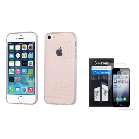 eafb43eaaf9971 Insten Rose Gold Glitter TPU Rubber Gel Skin Cover Case For iPhone SE 5S 5  (+ 2-LCD Kit Front and Back Clear protector) - Walmart.com