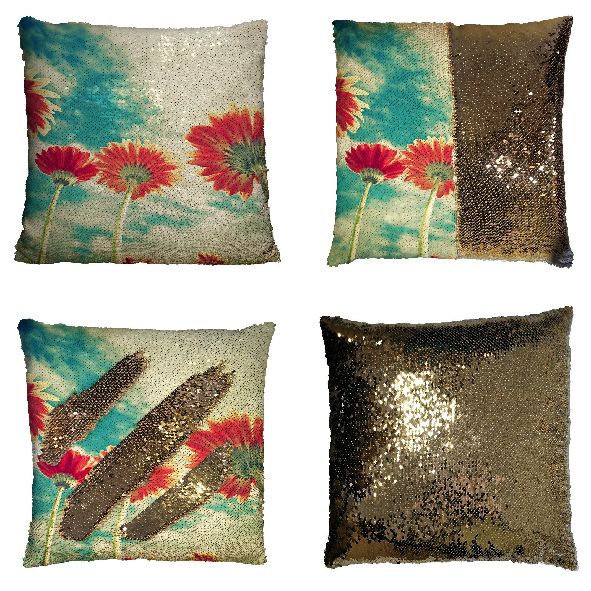 GCKG Summer Landscape Pillowcase, Red Sunflower under the Bule Sky Reversible Mermaid Sequin Pillow Case Home Decor Cushion Cover 16x16 inches