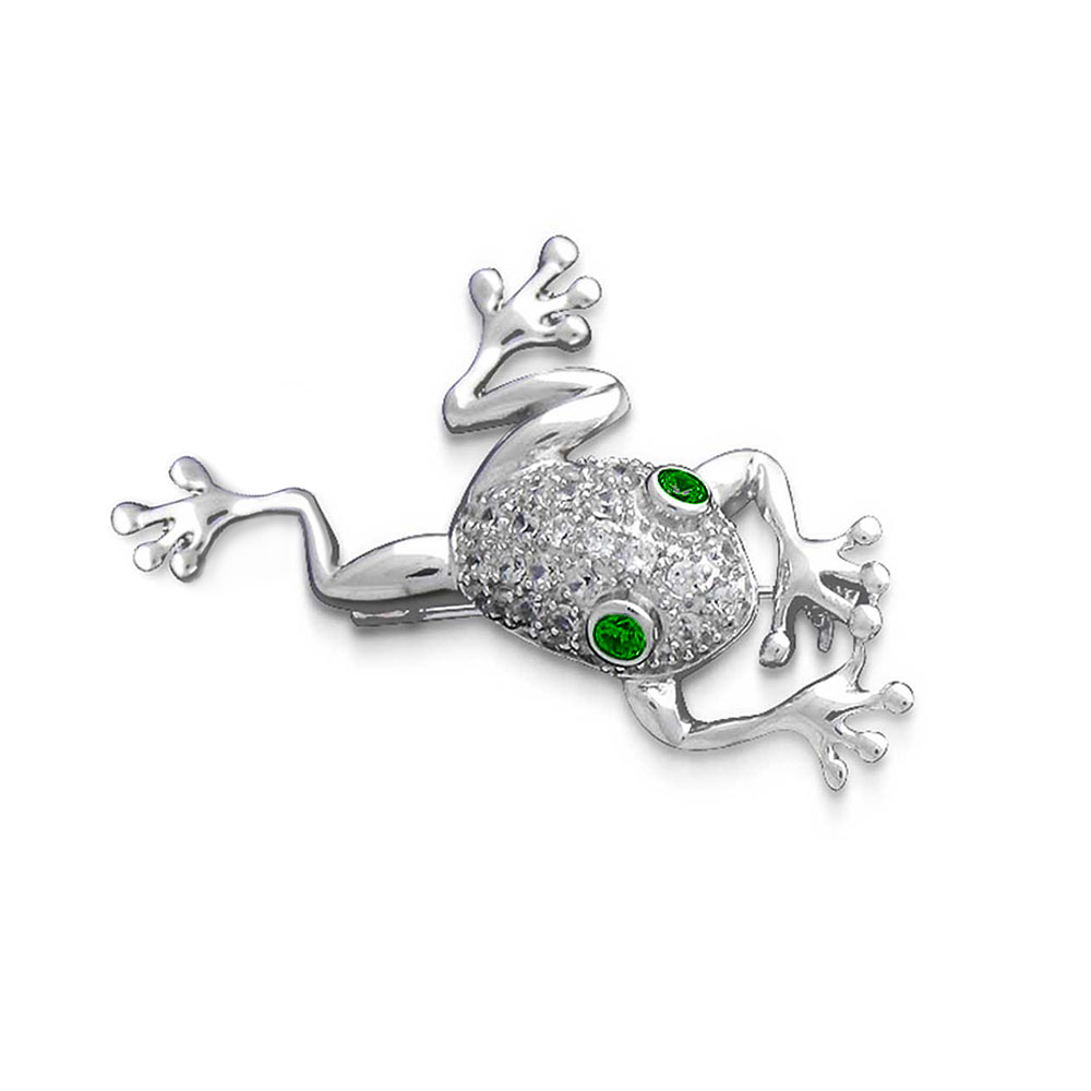 Bling Jewelry 925 Silver Frog Simulated Emerald Cubic Zirconia Eyes Pin Brooch by Bling Jewelry